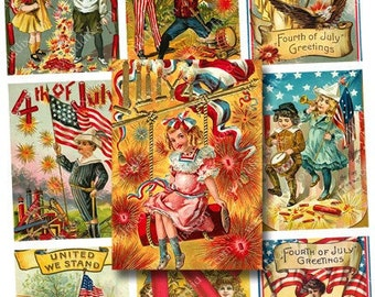 Fourth of July Small Victorian Postcards Digital Collage Sheet -- piddix no. 588
