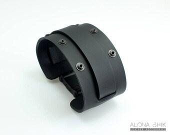 Matte Black leather Cuff, Wide Leather Bracelet For Men, Men's Leather Wristband Men Leather Cuff Wide Leather Cuff For Men Wide Wristband