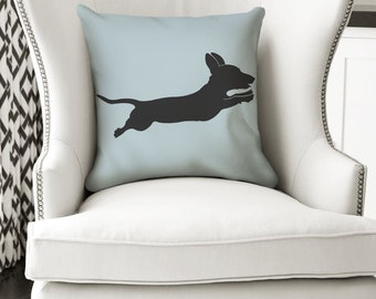 18x18 Leaping Dachshund Pillow - Doxie Lover Gift - Pillow or Pillow Cover - Gift for Dachshund Moms and Dads - Doxie Gift Weiner Dog Gift