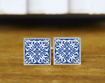 moroccan tile cufflinks, cobalt blue and white, personalized cufflinks, custom wedding cufflinks, round, square cufflinks, tie clips, or set