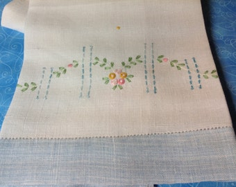 Vintage Linen Dish Towel- Embroidered Towel,  Blue and White Towel, 50's or 60's Towel, Tea Towel