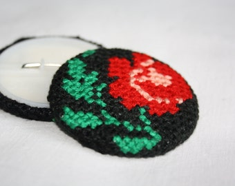 Floral Folk Cross Stitch Brooch