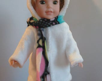 "SALE 14.5"" white hoooded doll coat and scarf, doll winterwear, made to fit wellie wishers and glitter girls"