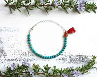 Turquoise Bracelet, Small Bead Bracelet, Wrist Mala Beads, Tassel Bracelet, Yoga Jewelry, Boho Jewelry, Dainty, Tiny Beads