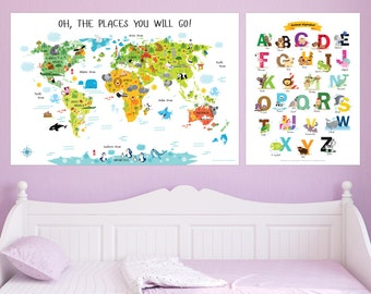 Baby shower gift childrens world map kids gift unique baby baby shower gift girl childrens world map and english alphabet posters unique baby gifts gumiabroncs Images