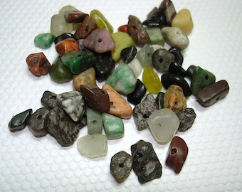 Stone and Glass Mix of Chip Beads (Qty 55) - B1119