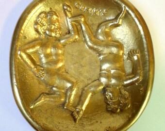 Vintage GEMINI Twins Solid Brass  PIN TRAY Zodiac Symbol by Sarried Valmazan