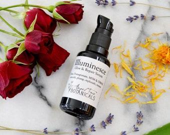 Illuminesce Glow + Repair Serum. Organic Facial Serum w/ MSM, DMAE, Pomegranate Antioxidants + Calendula. Face Serum, Fine Lines + Wrinkles