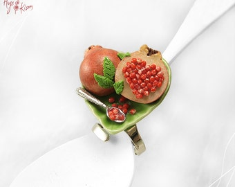Pomegranate Ring, Good Luck Ring, Mini Food Jewelry, Polymer Clay Ring, Scented Jewelry, Foodie Gift, Valentine gift, Fruit Ring