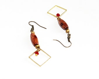 Square gold and wood earrings