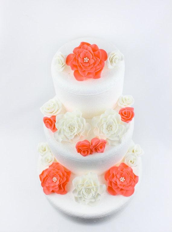 Koralle Weiss Kuchen Blumen 18pcs Fondant Blumen Vintage Koralle Rose Essbaren Bluten Essbar Kuchendeckel Dekorationen Jahrgang Geburtstag Hochzeit
