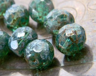 Mermaid's Treasure (12) -Czech Glass Faceted Rounds 10mm