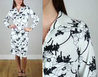 Vintage 1970s Black and White Floral Shirt Dress