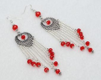 Long earrings shoulder earrings chain earrings dangle chandelier earrings red crystal earrings beaded dangle earrings long dangle earrings