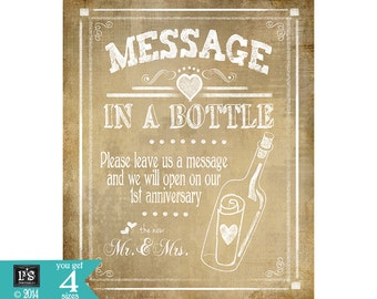 Message in a bottle 1st Year Anniversary Chalkboard Wedding sign - 4x6, 5x7, 8x10, 11x14-PRINTABLE download digital file - Rustic Collection