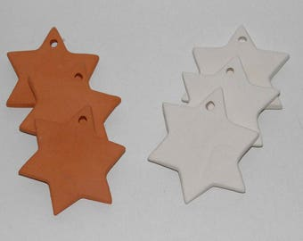 20 Bisque Ceramic Stars 7 cm Handmade Ceramic Ornaments. Star Tiles from Clay. Christmas ornaments. DIY