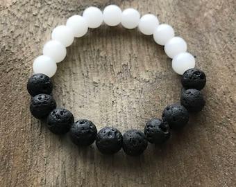 White Quartz & Lava Rock Bracelet