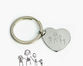 Children's Drawing Heart Keychain, Valentines day Gift for Husband, Kids Handwriting Keychain Personalized, Present for mom heart keyring