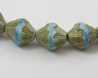 Robins Egg Blue Beads Opaque Lantern Metallic Picasso Glaze 13MM Scalloped BiCone Premium Czech Glass 6 Beads PSC13LANBI008