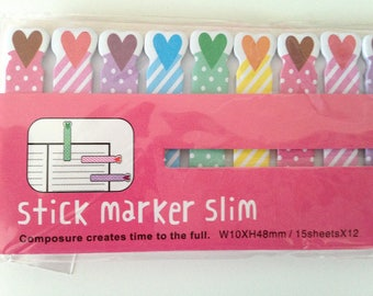 Hearts slim mini cute kawaii kitsch stick markers post it sticky notes