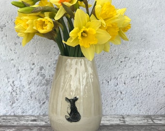Ceramic Handmade Fox Vase/ sgraffito stoneware vase