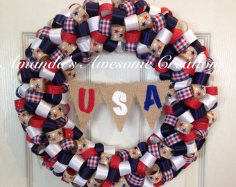 Americana U.S.A Wreath; Spring Sale; Patriotic Decor; Memorial Day; Labor Day; 4th of July, Veterans Day