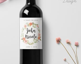 Custom Wedding Wine Labels, Personalized Label, Script Calligraphy, Wine Bottle Labels, Watercolor Flower Wreath, Ship from the U.S., WL10