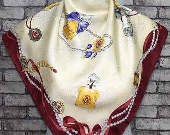 """Free post Authentic silk scarf (33""""x34"""") A 1396"""