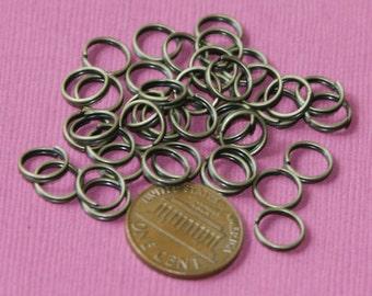 100 pcs of Antiqued brass split rings 8mm