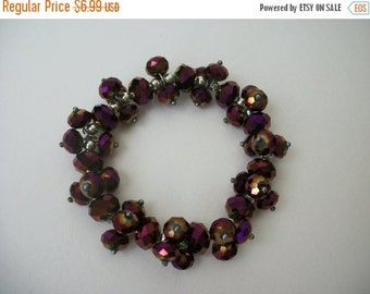 ON SALE Vintage Sparkling Faceted Beads Chunky Bracelet S # 359