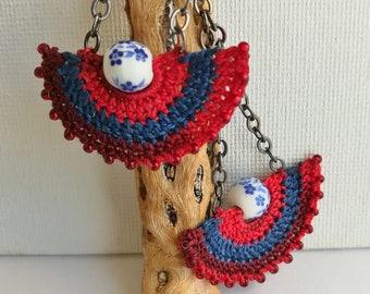 Crochet earrings - Lace Earrings - Crochet Beaded Earrings - Long dangle earrings - Girlfriend gift - Modern earrings - Red shade and Blue