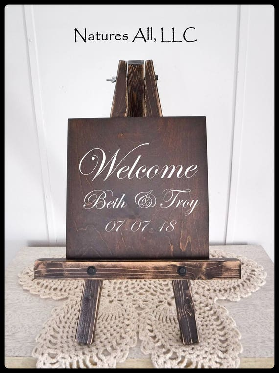 Wedding Sign-Welcome/ Welcome Sign AND Table Top Easel-Small/ Custom Wedding Signs/ Welcome Wedding Signs/Wood Wedding Signs/Reception Sign