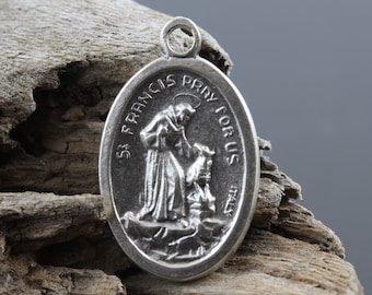 Saint Francis of Assisi Medal - Catholic Patron Saint of Animals - St. Francis Pray For Us 1 inch Silver Oxidized Medal