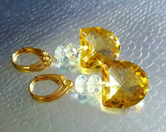 Golden Citrine with Aquamarine Modern Drop Earrings on Gold Vermeil Gemstone Statement Earrings Gift for Her