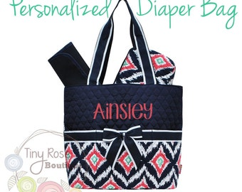 Personalized Diaper Bag, Navy Ikat Monogrammed Baby Tote, Changing Pad, Mommy Bag
