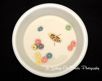 cereal bowl, Breakfast Boating, fun art photography, kitchen decor, food photo, tiny row boat and Fruit Loops pop art