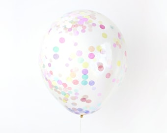 "Confetti Balloon - Pastel Rainbow - Choose 12, 16, 18, 36 inch - Large & Small - Blush Pink Peach Mint Blue 1"" Circle Filled - Tissue Paper"