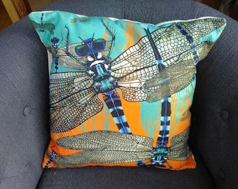 Vibrant colourful Dragonfly cushion