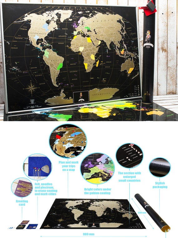 Personalized gift travel black scratch world map gift for like this item gumiabroncs Choice Image