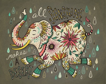 Elephant Art: illustration print All Sunshine Makes a Desert, giclee print in aqua, coral, gold and gray