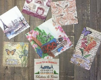 Travel Themed Set of Napkins for Collage and Mixed Media Projects