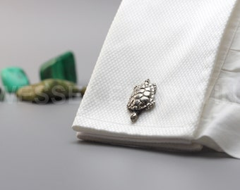 Turtle English Pewter Cufflinks - Personalised Engraved Cufflink Box