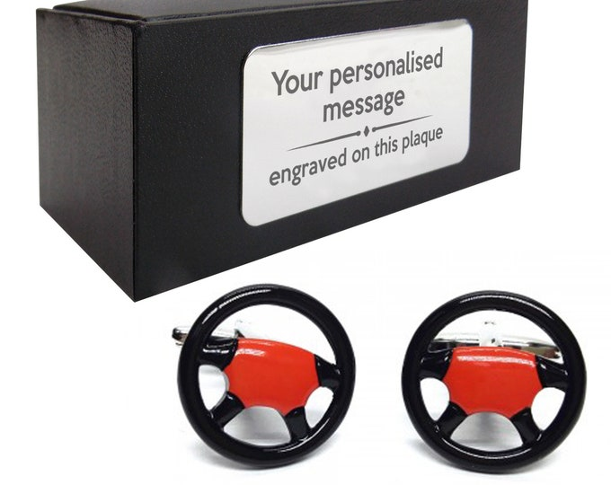 Car steering wheel red and black driving themed novelty CUFFLINKS gift, presentation box PERSONALISED ENGRAVED plate - 331
