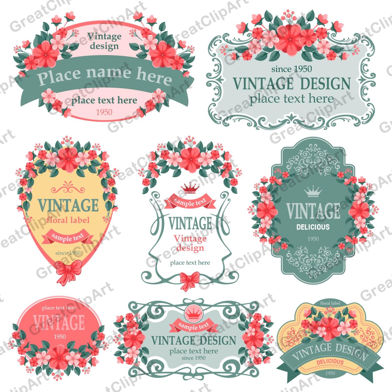 8 bedruckbare Blume Frames Clipart Satz von Etiketten