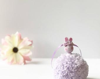 Pom Pom Bunny, Easter Gift, Easter Decor, Girls Bedroom Decor, Nursery Decor, New Baby Gift, Christening Gift, Pom Pom Rabbit