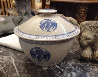 Gorgeous Asian Chinese Cobalt Blue and White Porcelain Covered Rice Bowl, Cranes or Phoenix Pattern
