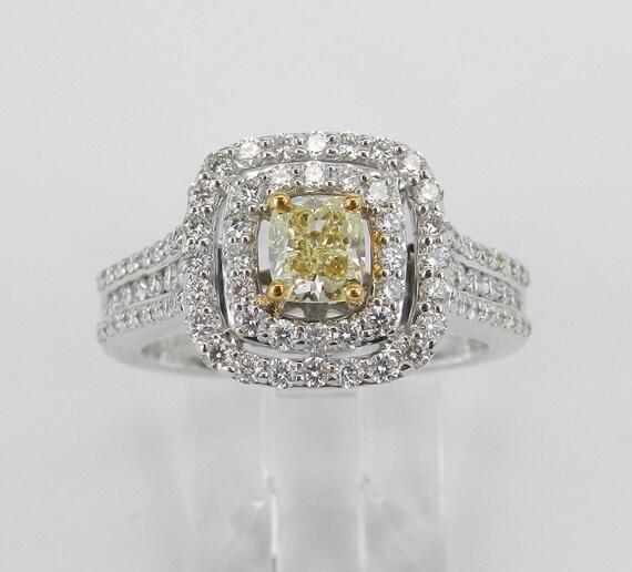 14K White Gold Canary Cushion Cut Diamond Double Halo Engagement Ring Size 7