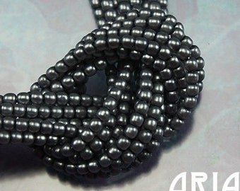 PLATINUM SATIN: 2mm Czech Glass Pearl Beads (150 beads per strand)