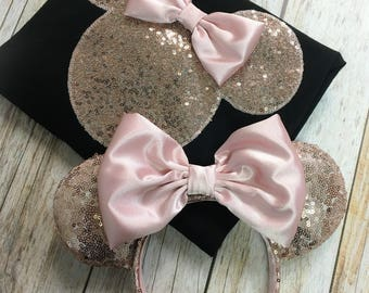 Minnie Mouse Inspired Silhouette ROSE GOLD Sequin Tee & Ears Set