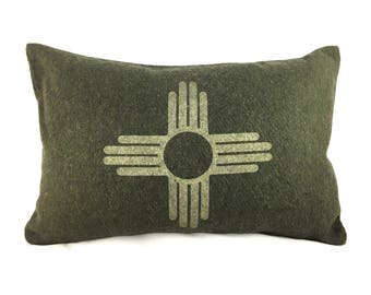 READY TO SHIP: Zia Symbol / New Mexico State Flag Pillow Cover - Olive Wool Military Blanket & Champagne Metallic (add'l colors avail)